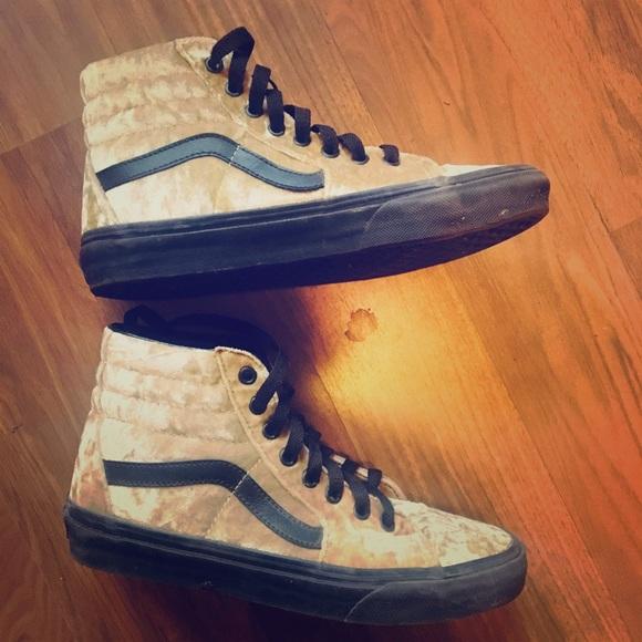 db61967290b64 Vans Shoes | Sk8 Velvet Gold Tan Black Skate Shoe | Poshmark